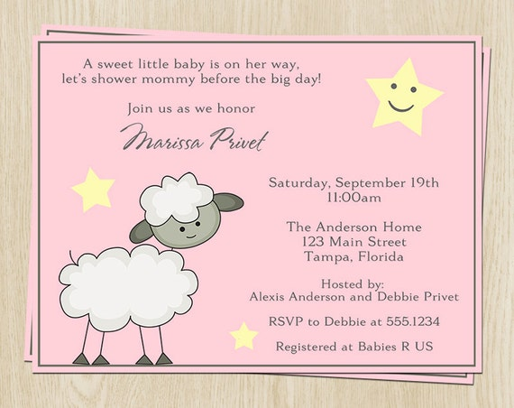 little lamb baby shower invitations baby girl set of 10 printed pink