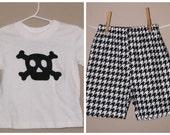 Boys Mod Skull Shirt and Houndstooth Shorts Set - Baby Toddler Boys - Crossbones OR Custom Design Available - Black and White Modern
