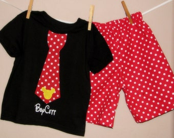 CUSTOM Personalized Disney Inspired Mickey Boys Tie Shirt and Shorts Set -Baby Toddler -Red Black Yellow -Perfect for Disney -Matches Girls