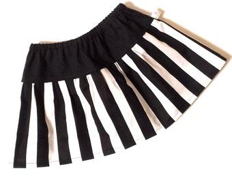 BUY 2 GET 1 FREE - Drop Waist Black and White Stripes Twirl Skirt - Baby Toddler Girls - Mod Trendy Monochrome -Back to School, Fall, Winter