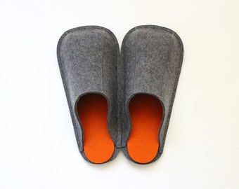 Natural Grey & Orange / Industrial Wool Felt Slippers / Womens / Mens / Suede Soles / Size US 6.5 - 13 / Eco-friendly