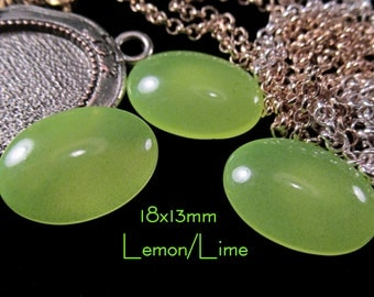 18x13mm Coated Glass Cabochon - Lemon/Lime - 3 pcs : sku 04.23.14.8 - D11