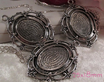 "25x18mm Antique Silver Setting - ""Boutique"" - 3 pcs : sku 02.01.14.10 - H3"