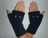 Hand-knitted navy color wrist warmers with knitted owl