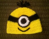 Crocheted Baby 1 eye Minion Hat  newborn to 3 year sizes