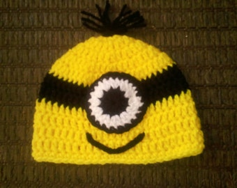 Crocheted Baby 1 eye Minion Hat  newborn to 3 year sizes