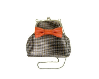 SALE! 50% off,Tweed bow bag, Black, pink and orange houndstooth pattern  tweed  Clutch,