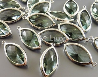 2 gray gray marquise glass pendants, unique bezel set marquise glass charms / jewelry supplies 5125R-GR (bright silver, gray, 2 pieces)