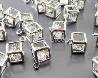 4 small 6mm clear crystal Cubic Zirconia jewel in a cube charms, CZ jewelry making supplies 1820-BR-6