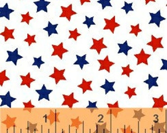 Windham Fabrics Basic Brights COLORFUL STARS...July 4th Stars Red And Blue On White...By The Yard