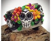 Frida Day of the Dead Skulls bracelet - polymer clay - Made to Order