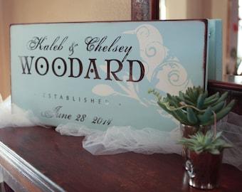 12 x 18 in Wedding Signage:  Personalized Flourish Bird Style Sign