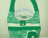 Irish Creme Hobo Bag - crochet, green, cream, flower, bag, tote, tote bag, purse, hobo bag, market bag, women, shoulder bag, kelly green