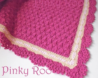 Baby Blanket crocheted in Raspberry Pink, Beige and baby Pink yarn with a scalloped trim