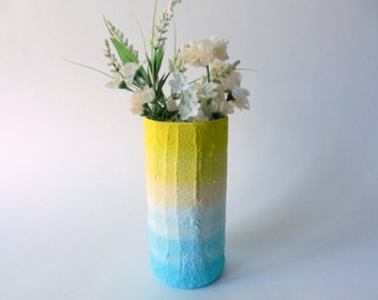 Sun and Sky ombre Vase / yellow home decor / handcrafted vase / yellow and blue  vase