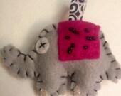 Pink Felt bead elephant keychain
