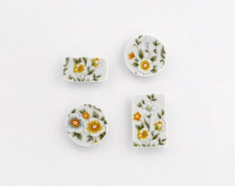 Broken China - Upcycled Floral  - Magnets - White and Yellow Spring Flowers -  Set of 4 - Plate Broken