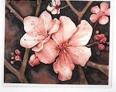 cherry blossom art print, pink flower botanical watercolor, pink and black art print, 5x7