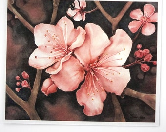 cherry blossom art print, pink flower botanical watercolor, pink and black art print, 5x7