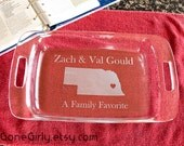 As Seen In HGTV Magainze! Home State Love. Any State! 9x13 Engraved Pyrex. Customization FREE. Bakeware, Usable Gift + Free Red Lid