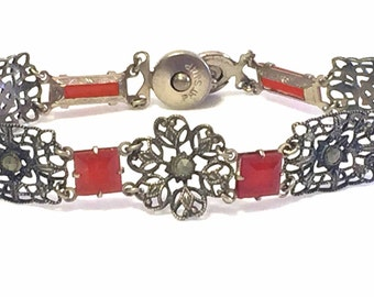 Elegant  French  Circa pre 1920s Art Nouveau Art Deco Open Back Carnelian Art Glass  Filigree Vintage Bracelet Art Nouveau Jewelry