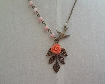 Coral rose and antique bronze leaf coral beads connected necklace. great gift for bridemsids. romantic night wedding
