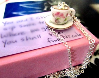 Alice in Wonderland Porcelain Hand Painted Tea cup and saucer necklace