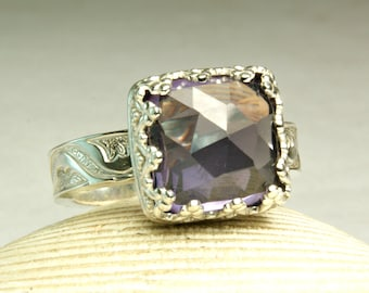 Lab Alexandrite Ring, Sterling Silver Jewelry, Color Changer, Faceted Gemstone Ring, Hand forged Jewelry