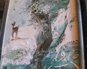 Original Morris Katz Painting / Winterscape with Deer