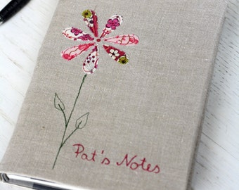 Personalized Notebook  - Flower on vintage linen
