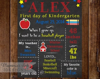 Printable Chalkboard First Day of School Sign - Primary Colors - Apple - Schoolhouse