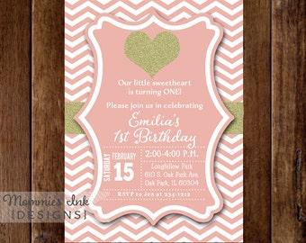 Gold Glitter Effect Heart Birthday Party Invitation - Pale Pink & White Chevron - Printable Invitation Design