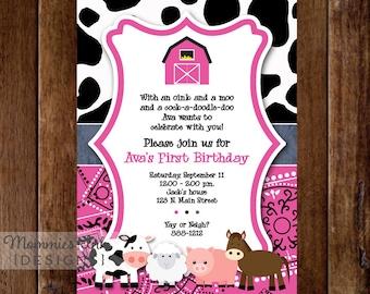 Pink Farm Animals Birthday Party Invite - Farm Party - Barn Party - Bday Invite - PRINTABLE INVITATION DESIGN