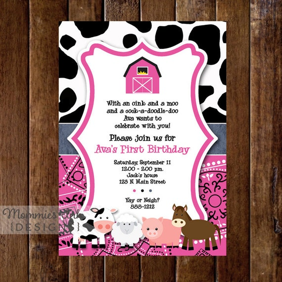 Pink farm birthday invitation first birthday invitation farm il570xn filmwisefo