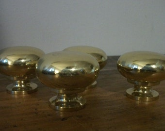 Set of 4 Vintage Heavy Gold Knobs