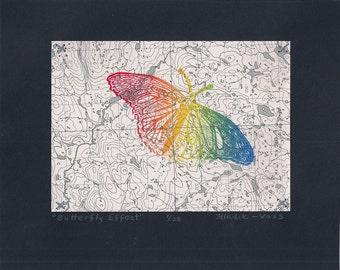 Butterfly Effect- Eco Geekery Science Art- Linocut Original Print- 8x10 inch