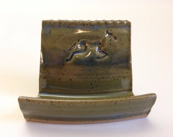 Business Card Holder with Horse Design for Odd-shaped Cards in Green