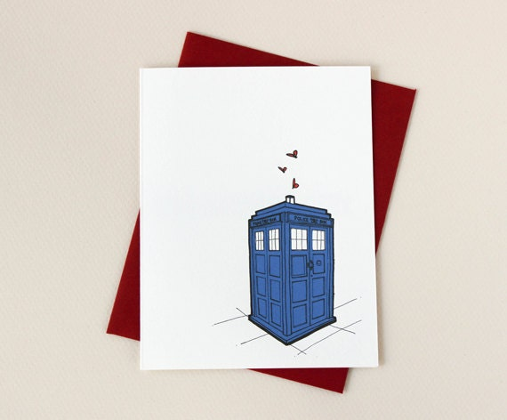 Doctor Who Inspired Tardis Love Valentine Card