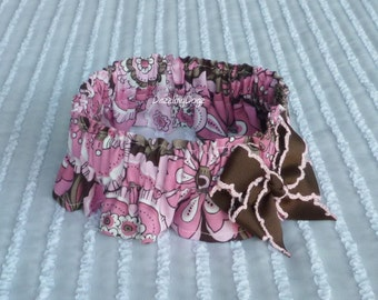 "Big Pink & Brown Flowers Dog Scrunchie Collar with bow - L: 16"" to 18"" neck"
