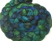BFL & tussah silk hand dyed roving - hand painted spinning and felting fiber - 4.6 oz Island Paradise - jewel toned top - dyed wool top