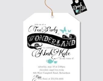 Alice Tea Party Invitation, Wonderland Party Invitation, Tea Party Invitation, Kids Birthday Party Invitation, Alice in Wonderland Party
