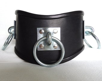Locking Leather Dungeon Posture Collar with 3 massive tie rings XL size
