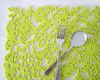 Lime Green Botanical Garden Felt Placemat Set. Set Of Four. Lime Birds Butterflies Flowers Place Mats