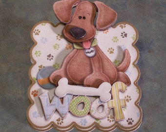 "Handmade Birthday Easel Card for Boy or Girl - 4"" x 4.75"" - WOOF - Hand-Cut Dimensional Decoupage Dog with Bone"