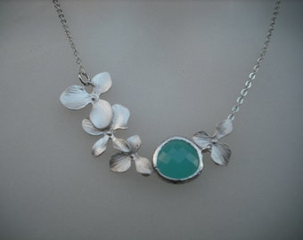 Ready to Ship - Bridesmaids gift, Wedding Gift, matte white gold plated orchid flowers with aqua blue bezel necklace