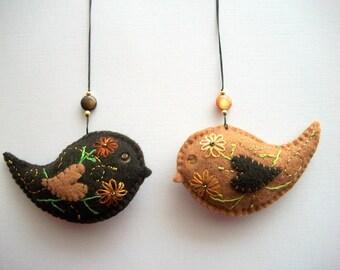 Felt Ornaments Brown Bird Wall Hanging Nursery Decoration Hand Embroidered Handsewn