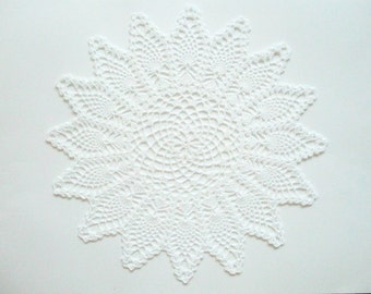 Crochet Large Doily Pineapple Lace Runner White Cotton Heirloom Quality