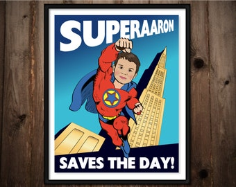 Personalized Superhero Print - Custom Illustration from your photo