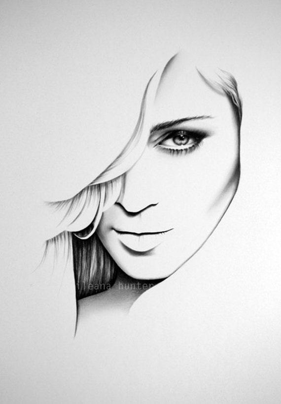 Fine Line Design Art Gallery : Madonna fine art bleistift zeichnung portrait print