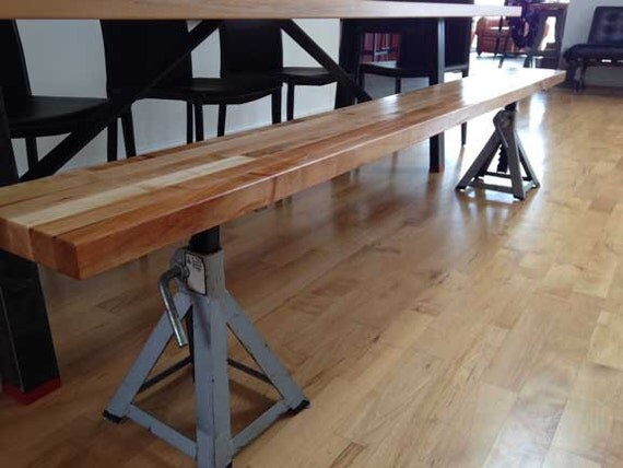 Industrial Bench For Dining Table Butcher Block Top